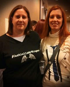 My friend (also a Stephanie) and I at ChiCon. I made the shirt I'm wearing on CafePress. It says #CastielIsMyWingman.